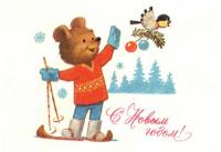 С Новым годом! Медведь лыжи синица