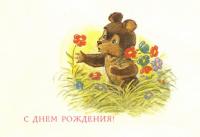 С днём рождения! медведь цветы
