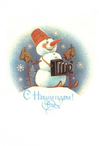 Happy New Year! snowman photographer camera ski skier