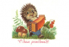 Happy Birthday! Hedgehog accordion. mushroom