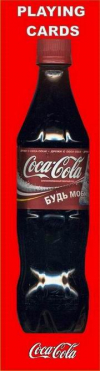 playing cards in the shape of a Coca-Cola bottle